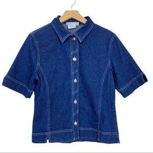 Vintage y2k jean denim shirt collared short sleeve